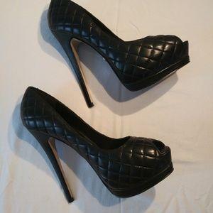 Bebe Open Toe Heels in Size 7